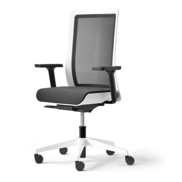 POI bureaustoel met aluminium voetkruis, wit | www.bureaustoel.nl