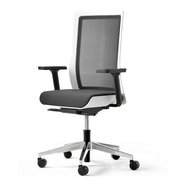 POI bureaustoel met aluminium voetkruis, gepolijst | www.bureaustoel.nl