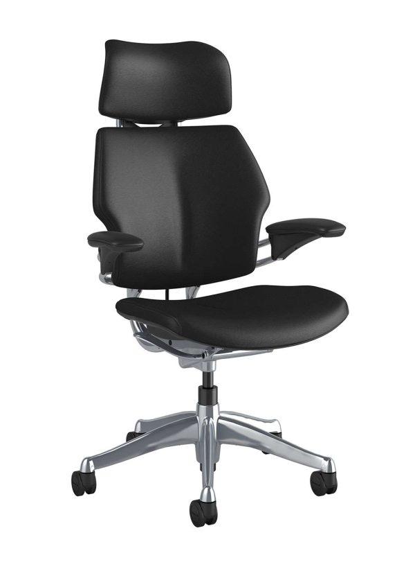 Humanscale Freedom Chair F213A zijaanzicht zwart leder TL10N   www.bureaustoel.nl